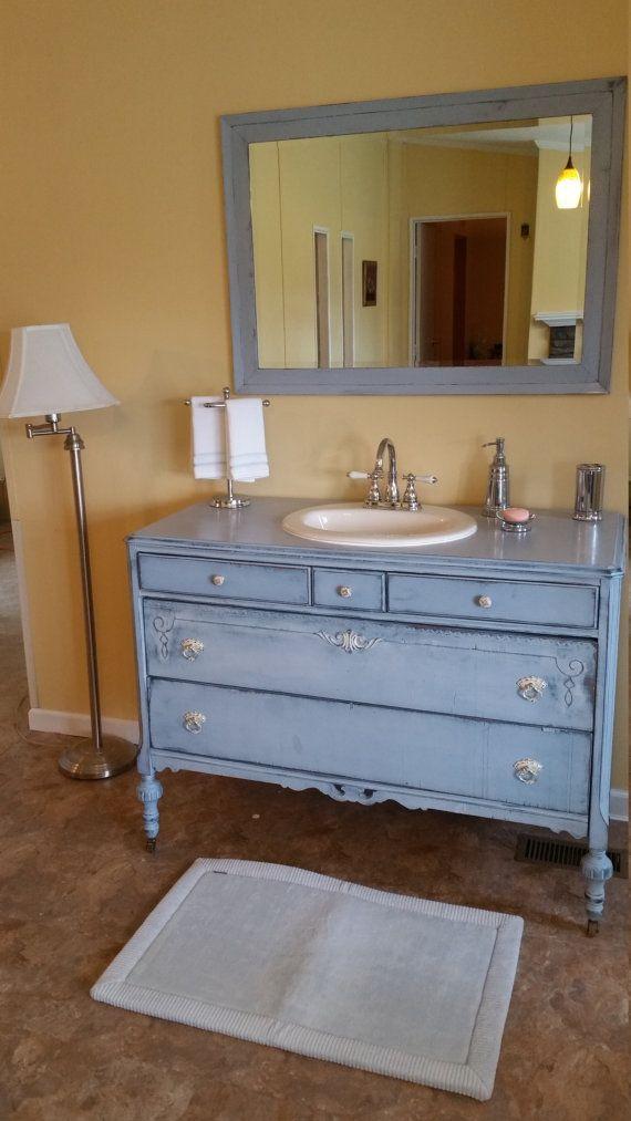 RePurposed Antique Dresser to Bathroom Vanity by VanityAppeal