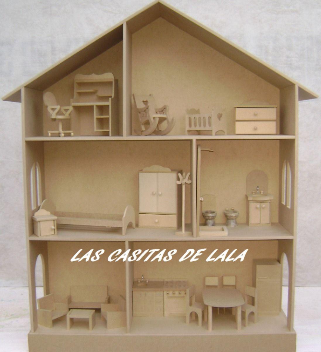 Casita mu ecas barbie con muebles casas mu ecas pinterest muebles mu ecas y muebles para - Como hacer muebles para casa de munecas ...