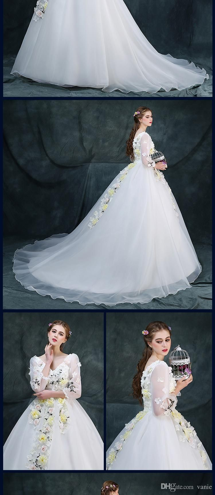 Small wedding dresses  Cheap Ocw Of Bride Colorful Flower Fairy Gowns Custom Made Small