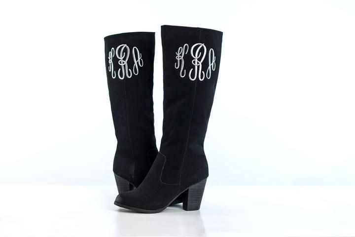 """Learn to stitch on """"hard to hoop"""" items like these boots in my class - Embroidering Monograms by Machine - Register here:www.craftsy.com/ext/TerriJohnson_4842_F"""
