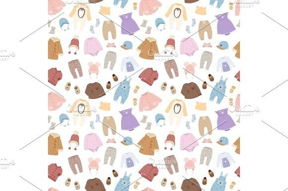 Vector Baby Clothes Seamless Pattern Background Background Patterns Seamless Patterns Icon Set Design