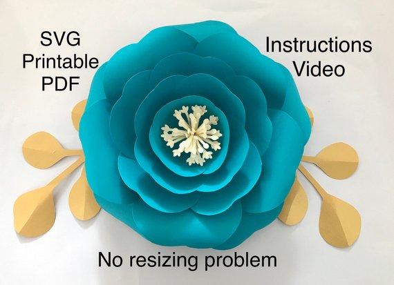 Paper Flower Template, Flower Petal Template, Giant Paper Flowers, Large Paper Flower Template Svg, #largepaperflowers