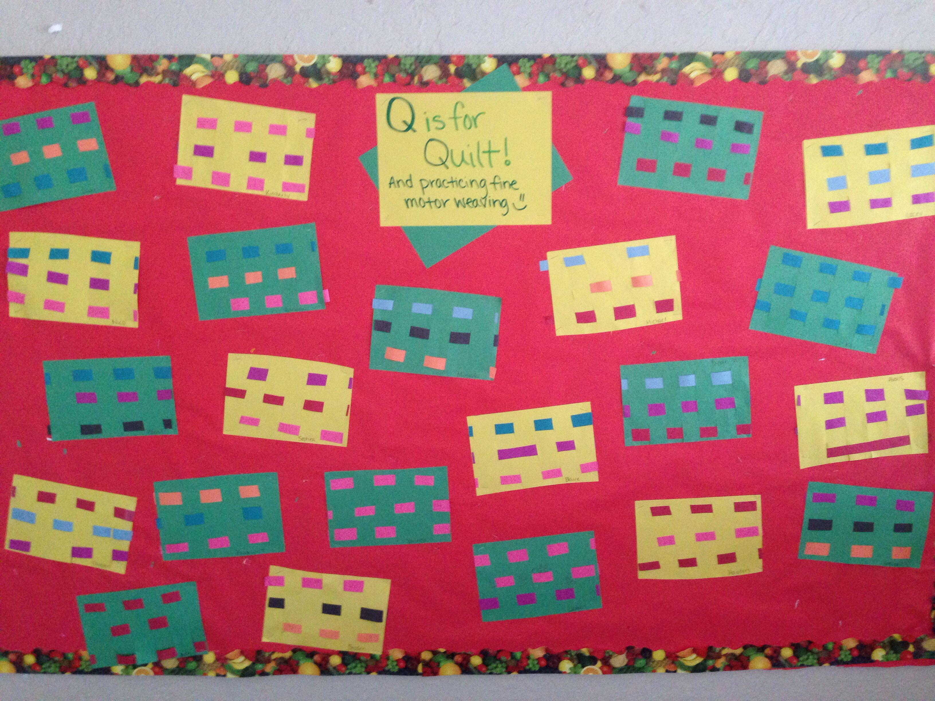 Practicing fine motor movement with weaving while also learning Q for Quilt!