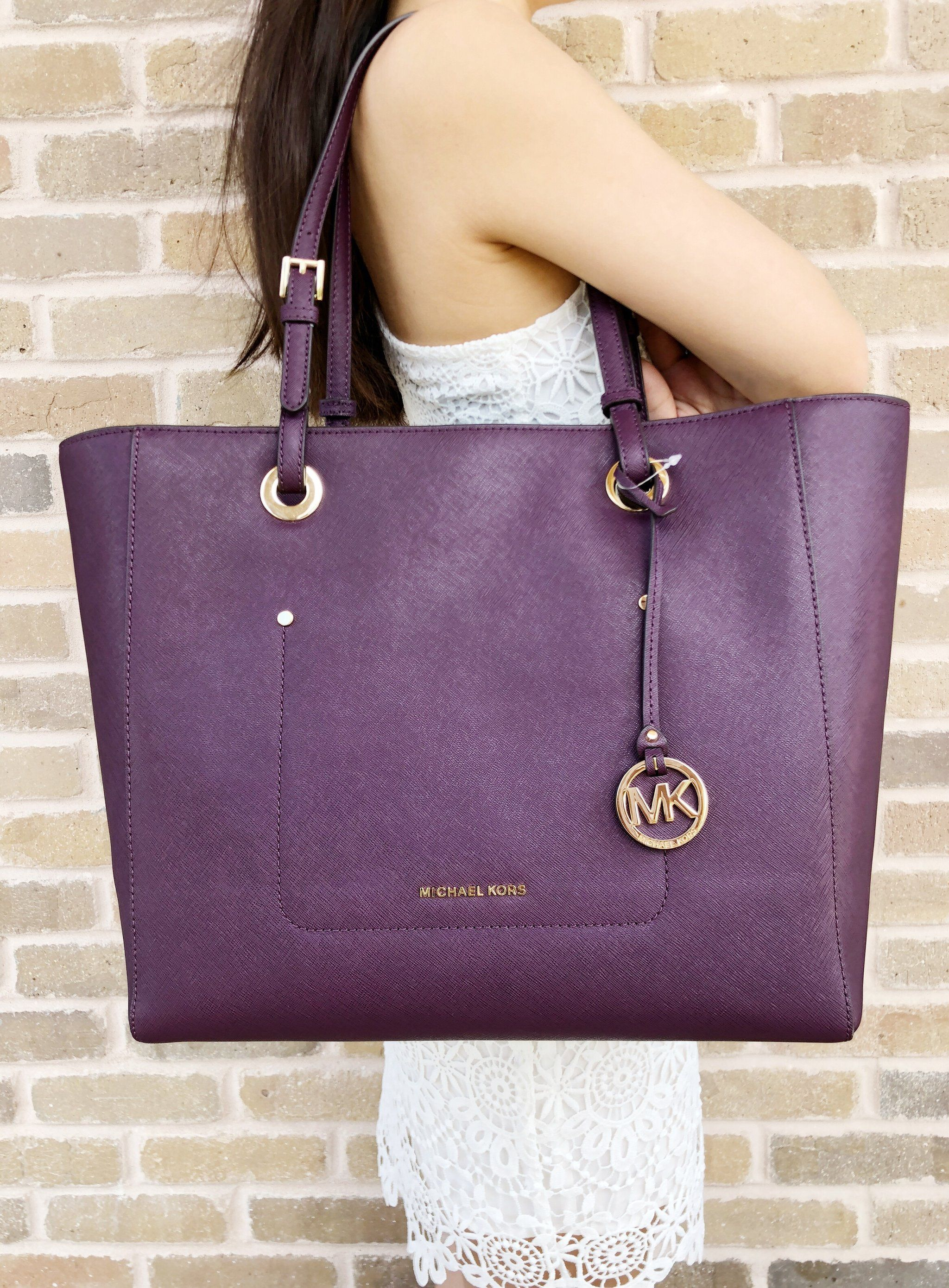 46c5e00e26d3 NWT Michael Kors Walsh Large Saffiano Leather Tote Damson Purple ...