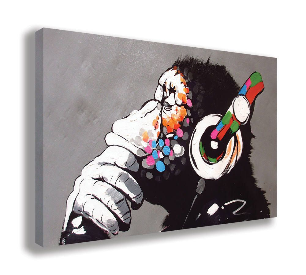 Stretched Canvas Wall Art Supplied Ready To Hang Wallart London Ltd Canvas Prints Are Of The Highest Quality And Come Framed Monkey Art Banksy Art Art Prints
