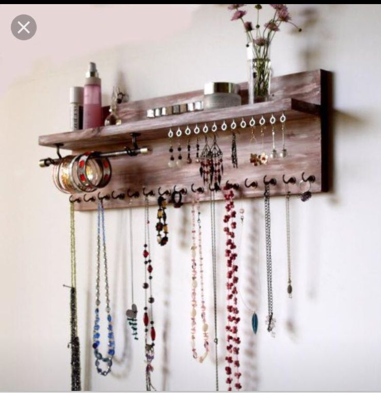 Pin By Nichole Tenchavez On Diy Jewelry Holder Wall Mounted Necklace Jewellery Storage