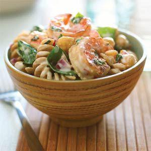 Shrimp, Lemon, and Spinach Whole-grain Pasta Salad