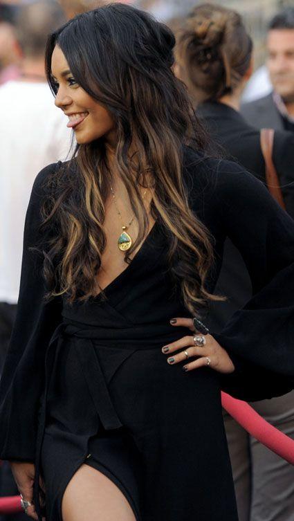Vanessa H...where do i start? well for one her totally boho style, her ex boyfriend and hy she tounge smiles #Vanessa Hugdgens #black dress #smile