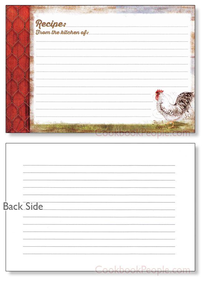 4x6 Recipe Card - Barnyard Rooster Recipe cards, Card card and Album - recipe card