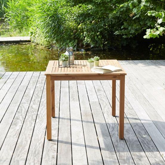 Table carrée en bois d\'acacia FSC