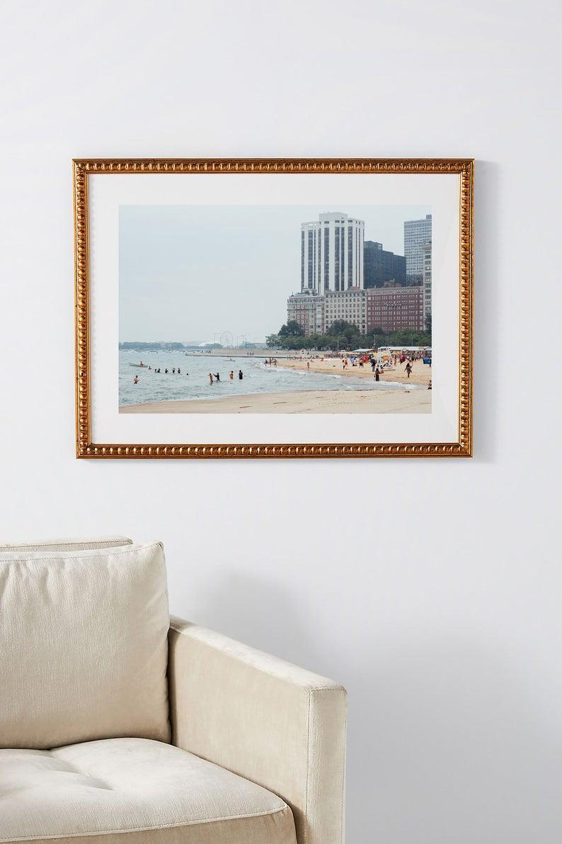 Summer In Chicago Art Print Lake Michigan Wall Art Oak Etsy In 2020 Chicago Art Print Chicago Art Beach Art