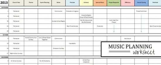 For the Church Musician: A Planning Worksheet | WORSHIP SERVICE and ...