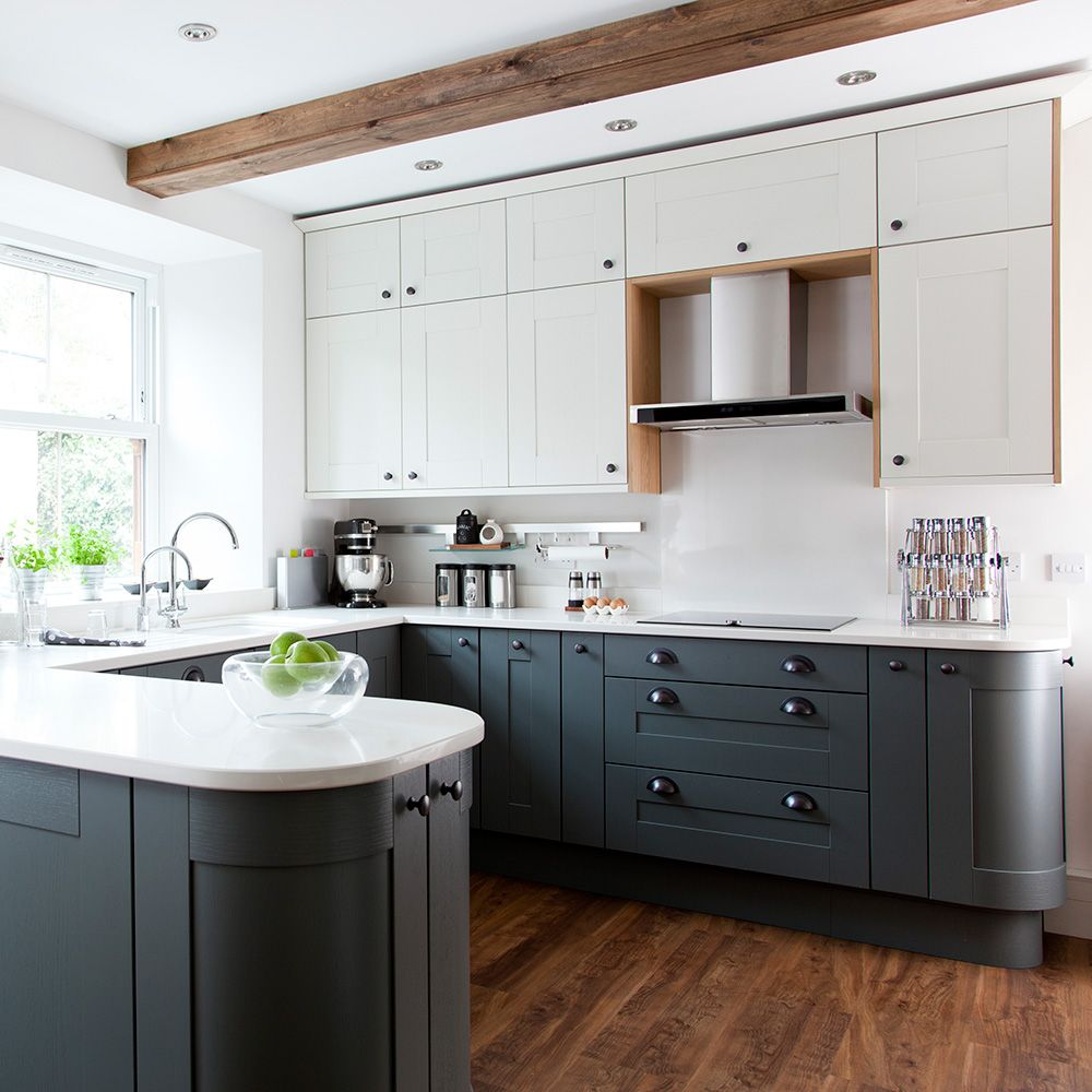 Modern Shaker kitchen with grey cabinetry and vinyl flooring | Rent ...