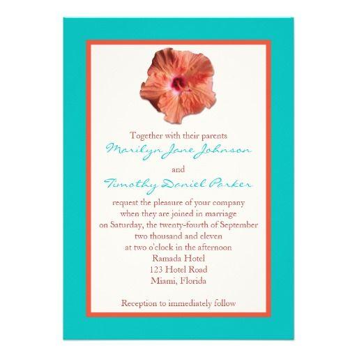 Coral Hibiscus and Aqua II Wedding Invitation