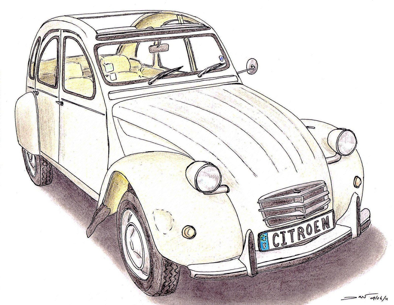 cool drawing 2cv - Google-søk | Citroen 2CV | Pinterest | Enten ...
