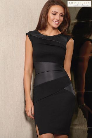 Buy Michelle Keegan Faux Leather Pleated Shift Dress from the Next UK online shop