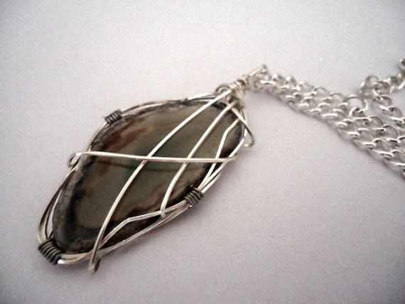 Wire wrapped agate slice pendant brown tones with a by BlueKaye, $35.00