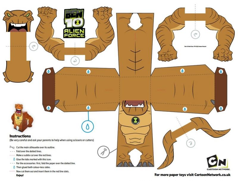 free ben 10 printable papercraft paper craft figures free