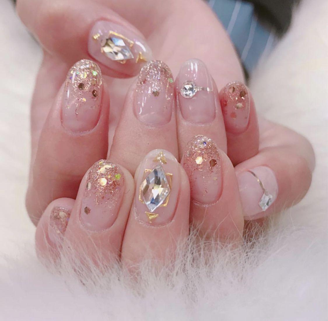 Korean bling nail design  #koreannailart