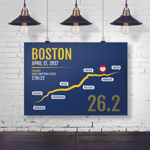 Boston Marathon Print - Personalized and Customized for 2016 or 2017, Marathon Print, Runner Gift, Running Art, BAA, Gifts for Runners
