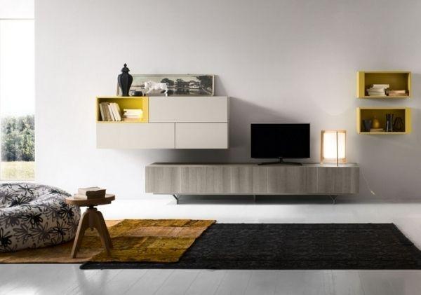 Wohnzimmer Möbel Wandbefestigte Oberschränke grifflose Türen - wohnzimmer tv möbel