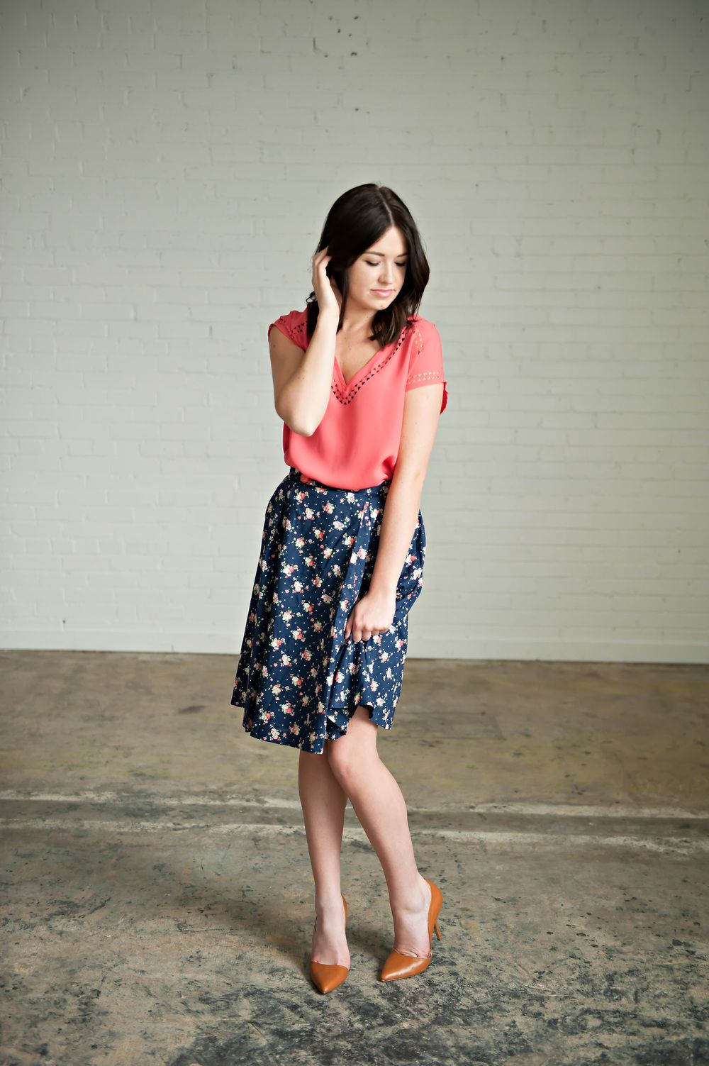 c5de7a70 Piper & Scoot || Coral Laser Cut Blouse && Navy Floral Skirt ...
