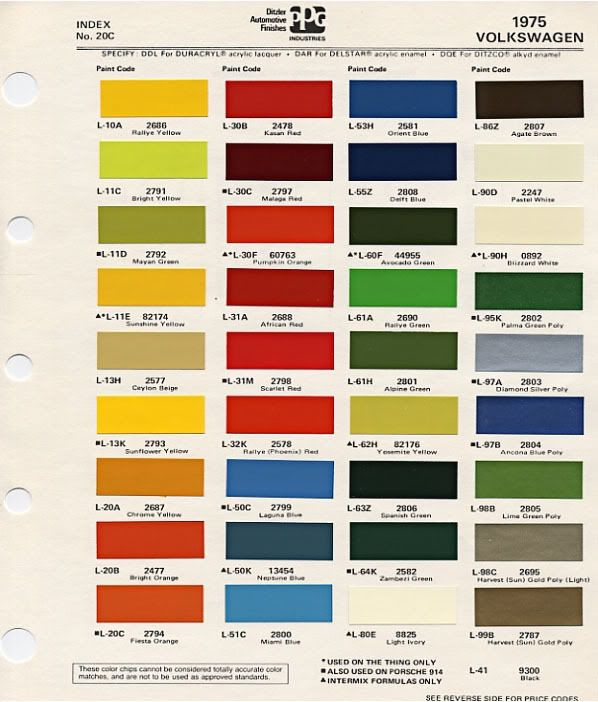 Volkswagen 1975 Color Codes Pinterest Volkswagen Vw