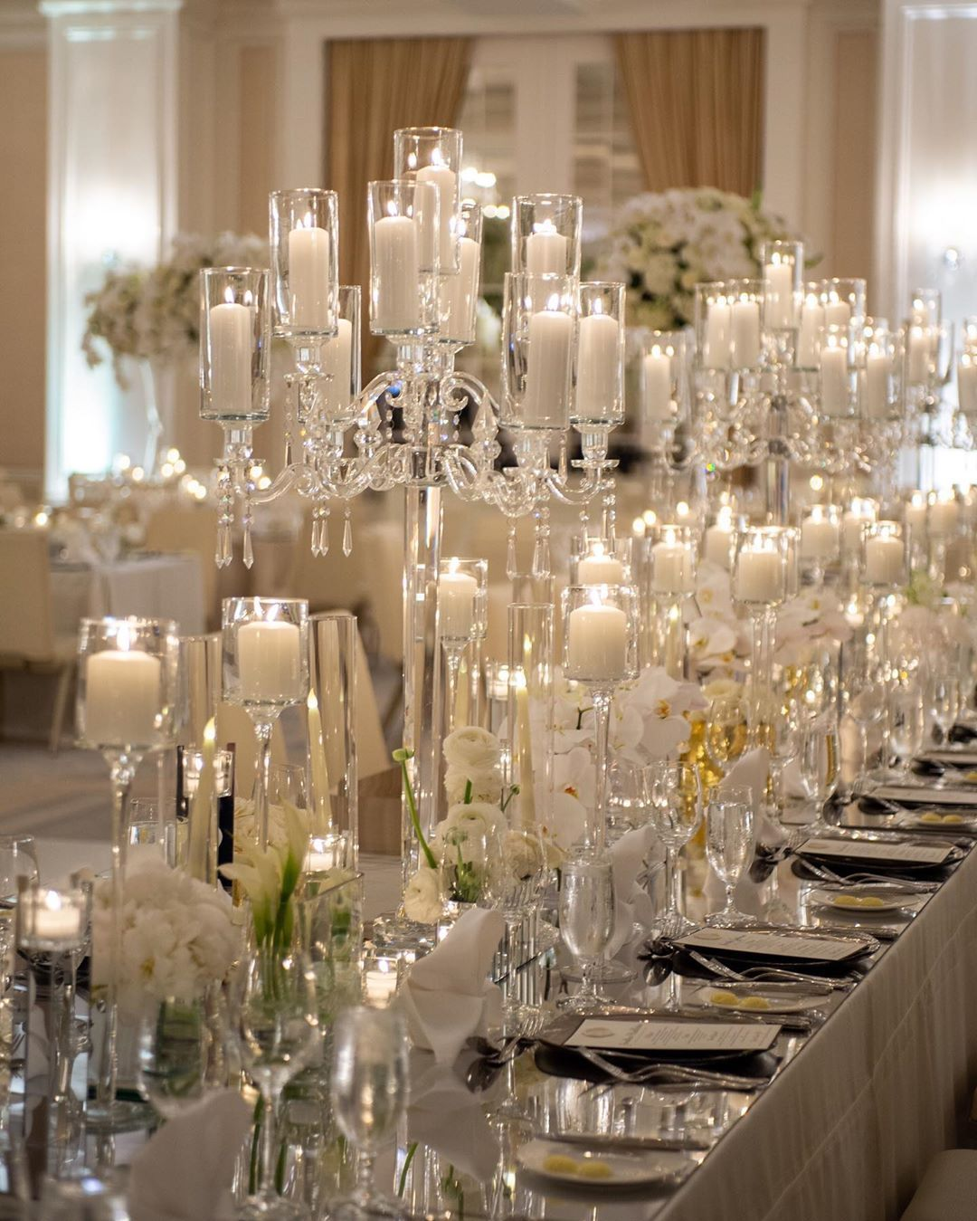 Edge Design Group Atlanta On Instagram A Well Designed Bridal Estate Combines Multiple E Crystal Centerpieces Wedding Crystal Candelabra Night Time Wedding
