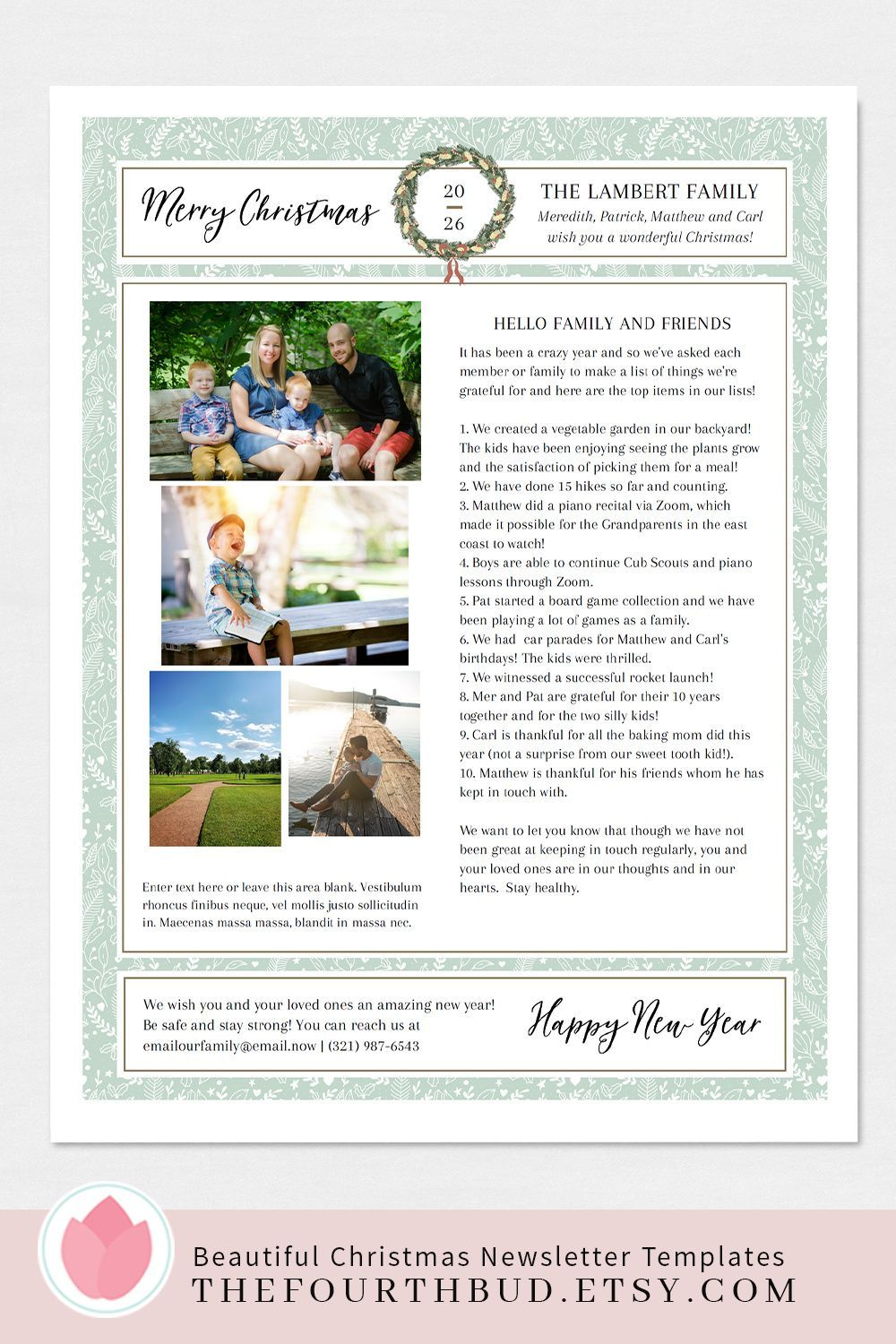 Christmas newsletter template elegant year in review 4