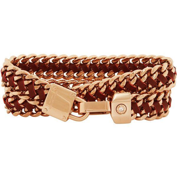 Henri Bendel Padlock Convertible Leather Wrap Bracelet Choker
