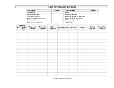 a printable loan amortization schedule including interest on which