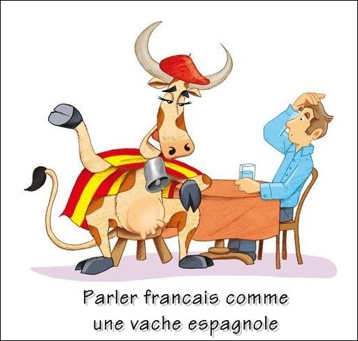 Parler Francais Comme Une Vache Espagnole Parler Tres Mal Francais French Language French Expressions Idiomatic Expressions