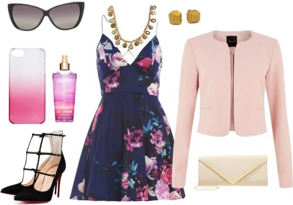 Guest At A Summer Wedding Try This Navy Floral Dress With Pink Jacket More Outfit Ideas On The Blog