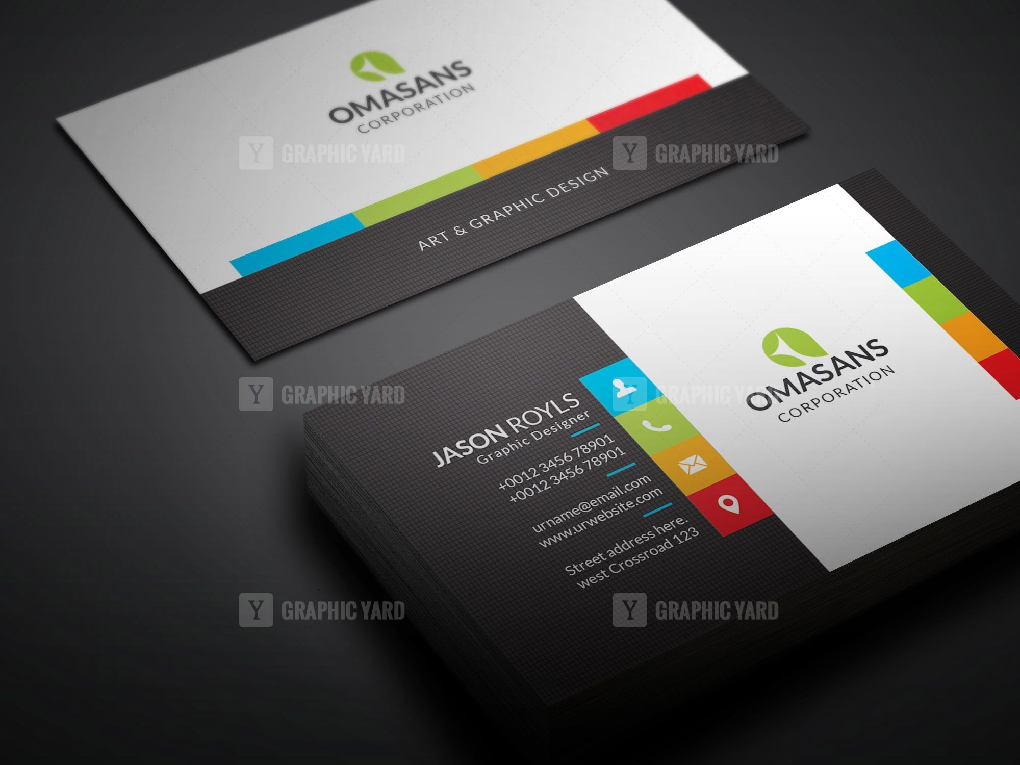 Psd Colorful Business Card Design Graphic Yard Graphic Templates Store Business Card Design Colorful Business Card Design Colorful Business Card