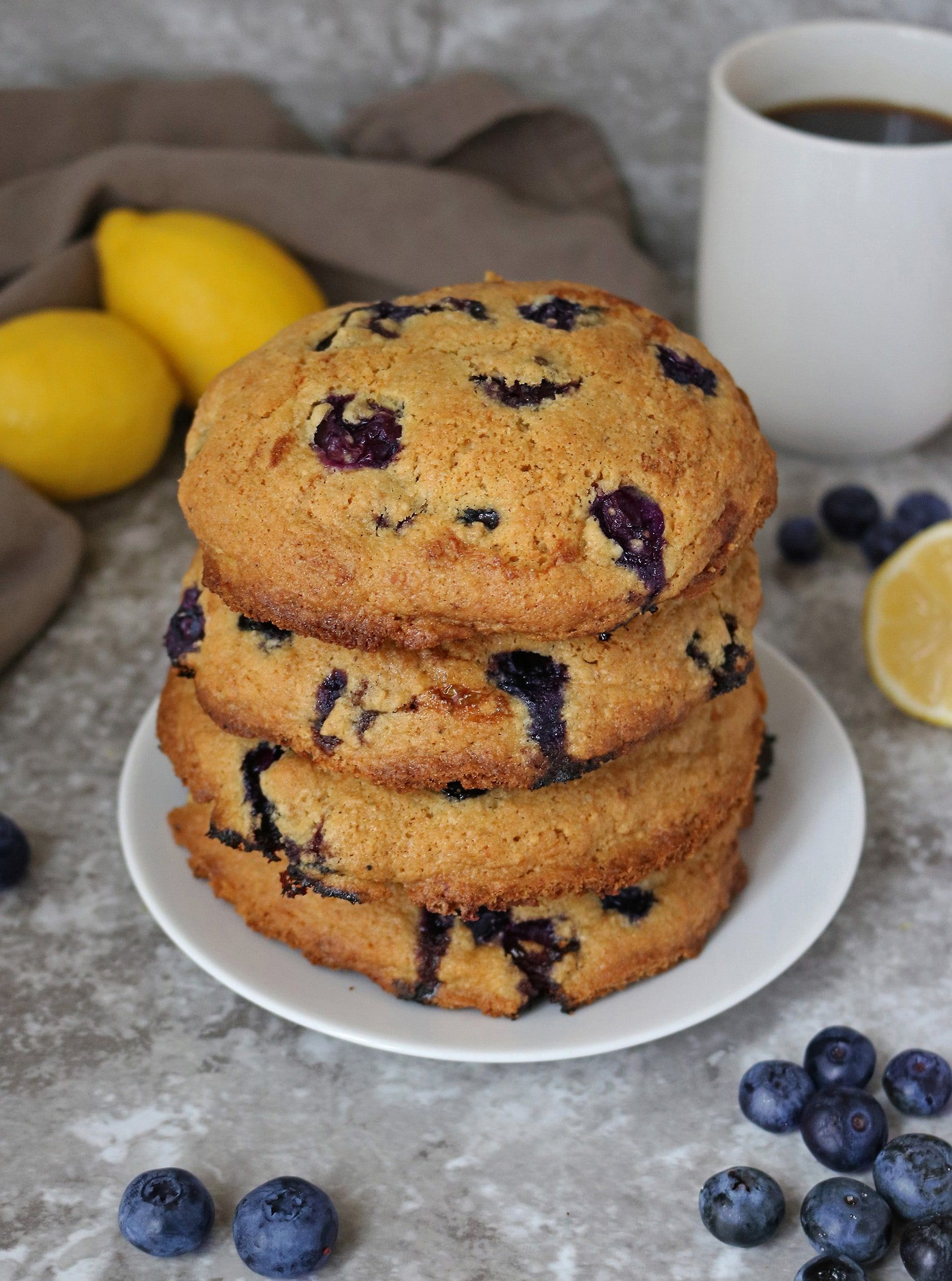 Gluten Free Lemon Blueberry Muffin Tops #lemonblueberrycheesecake