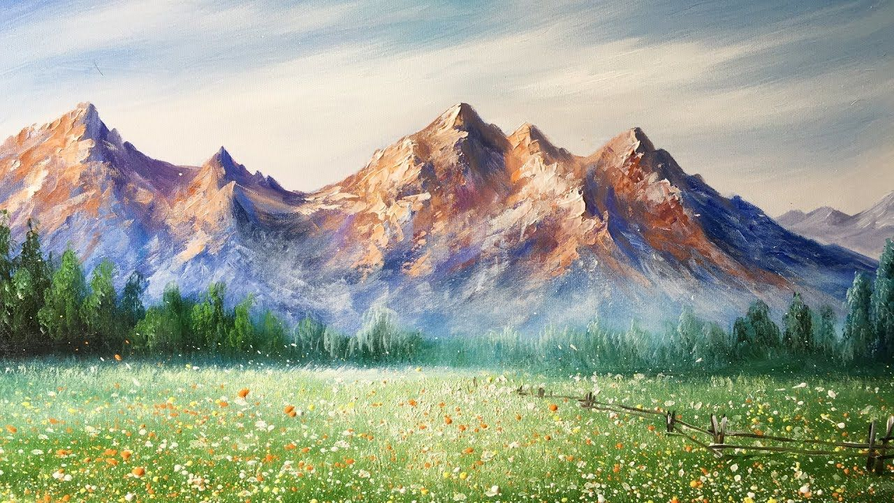 Pittura Ad Olio Tutorial Paint Mountains With Acrylic Paints Lesson 2 Corso Di Pittura