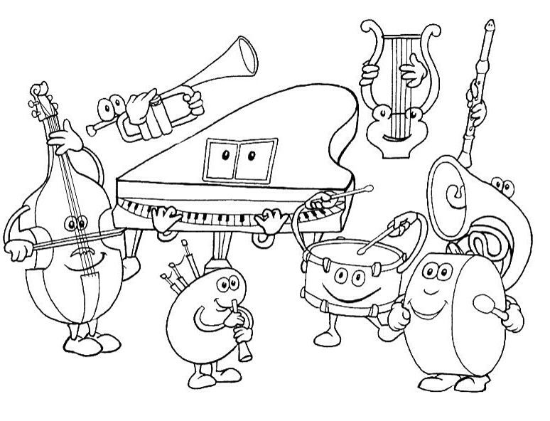 Musical Instruments Colouring Page Musical Instrument Coloring