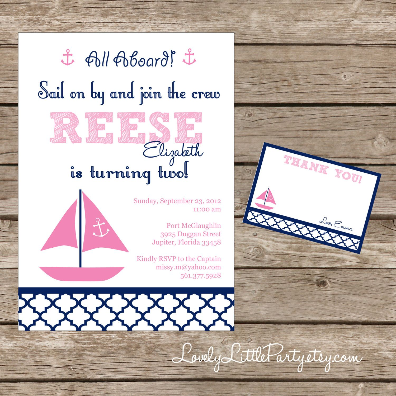 DIY Printable Sail on By Nautical Birthday Invitation Kit Invite