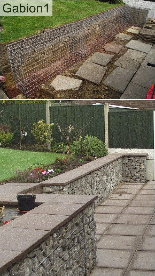 Gabion Wall With Concrete Pavers As A Capping Http Www Gabion1 Co Uk Landscaping Retaining Walls Backyard Landscaping Gabion Wall
