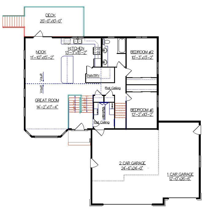 Bi level house plan with a bonus room 2010542 by e designs for Bi level house plans with attached garage
