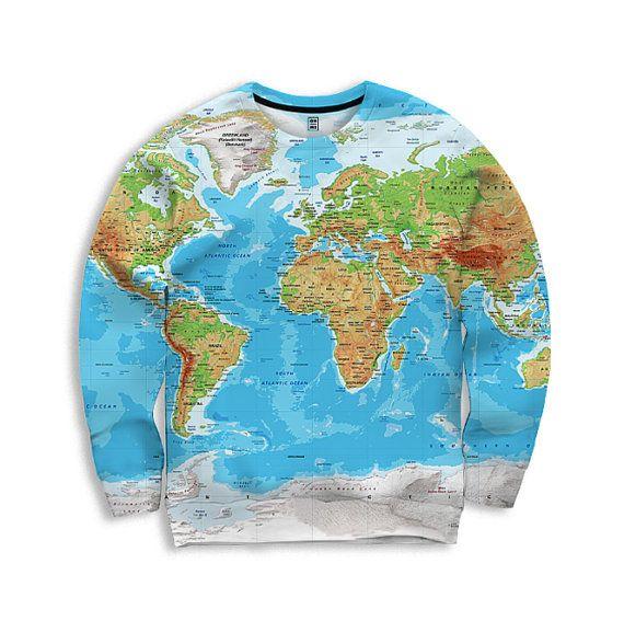 Unique unisex World Map sweatshirt, Globe Print, All Over Print - best of world map fabric etsy