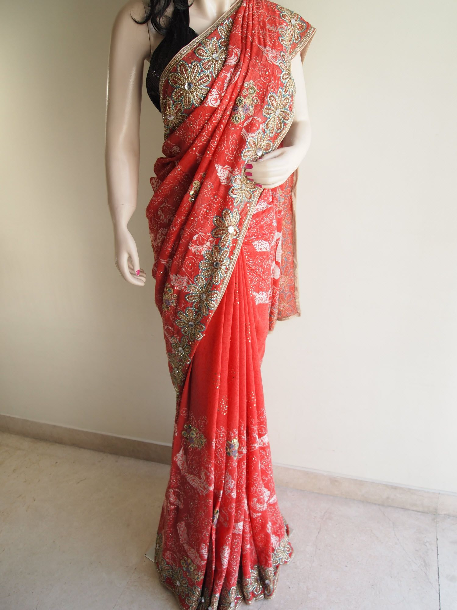 abba1029f48d83 Gajari Pure Georgette Saree With Heavy Sequins Work | Georgette ...