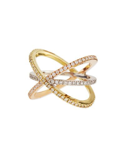 Roberto Coin 18K White Gold Diamond Double-Crisscross Ring 6wmeOJqVG