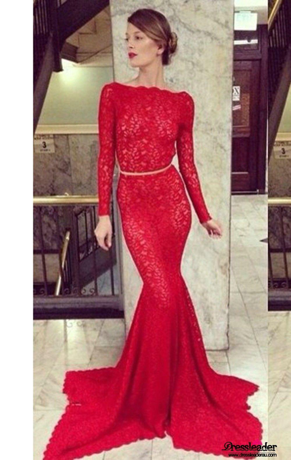 Red scoop neck backless long trumpet mermaid formal dress lcau