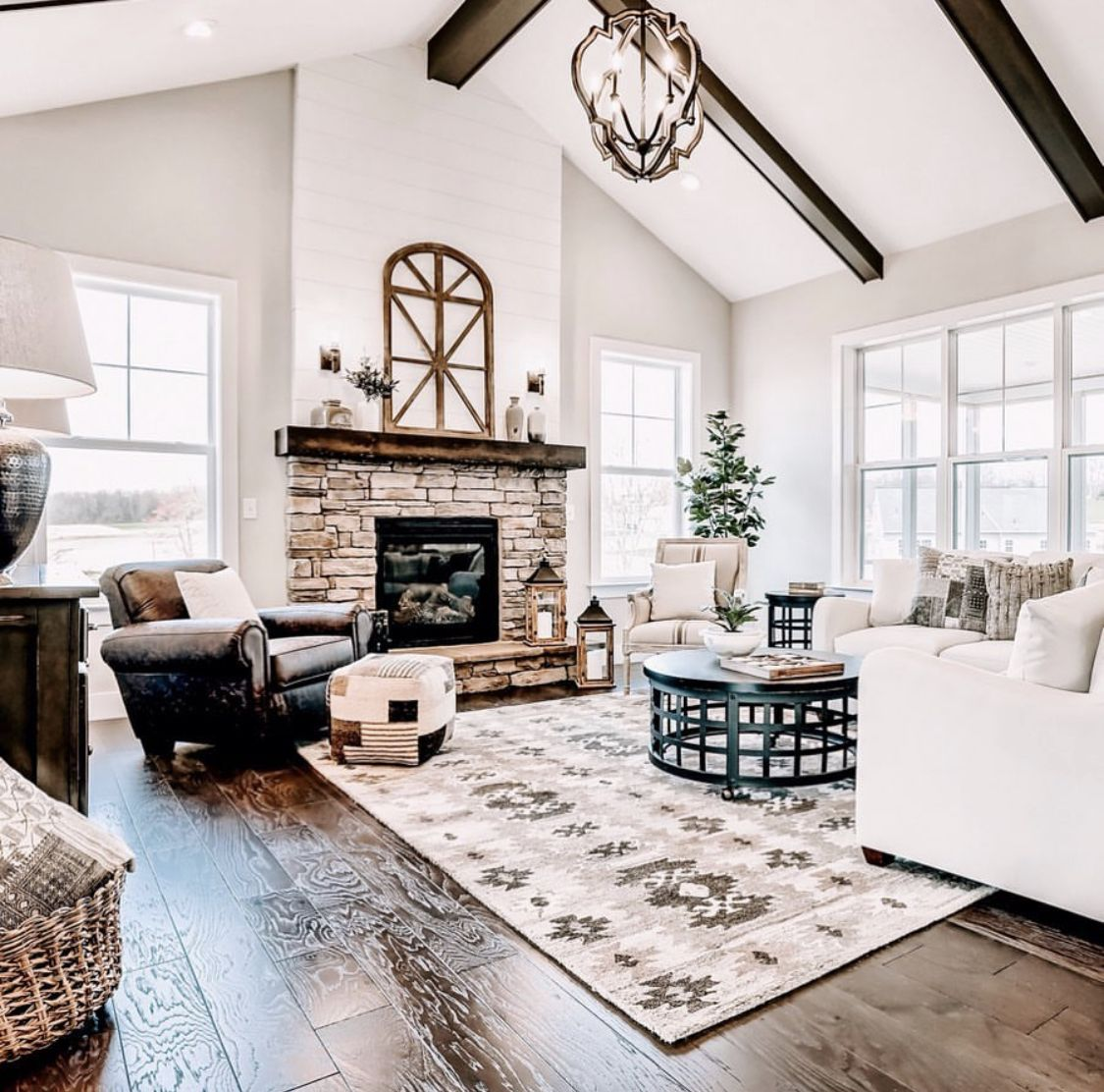Cozy Living Room With Large Fireplace New Traditional Home D