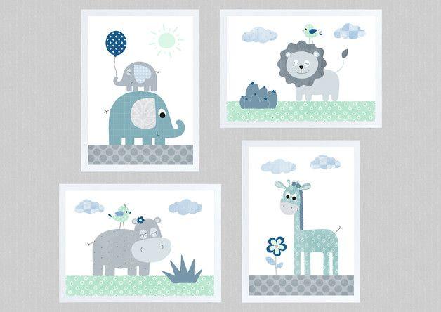 Kinderbilder SET 1a - Dschungeltiere A4 Poster mint grau - 4x DIN A4 ...