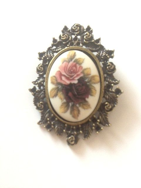 Vintage Cameo Brooch Rose Cabochon. Pink. Ivory. by TheJewelryDish