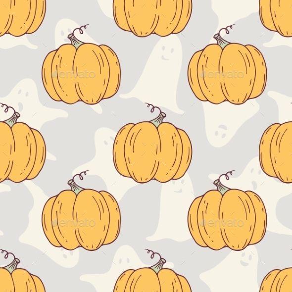 Hand Drawn Halloween Pumpkins Seamless Pattern