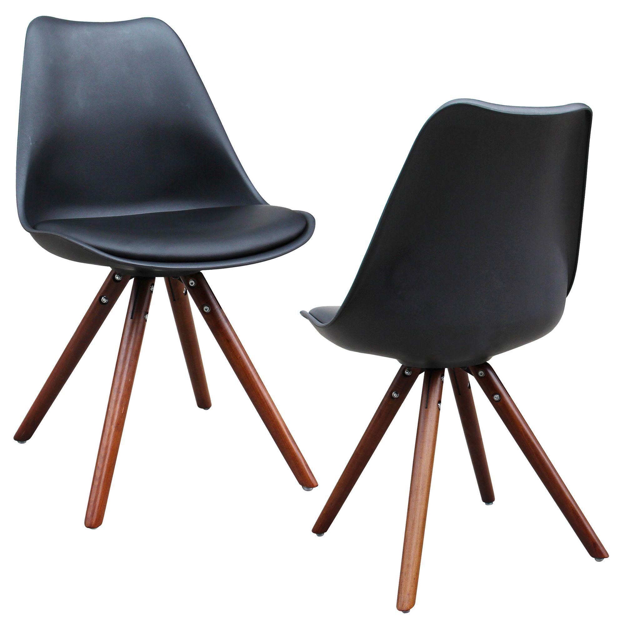 Worldwide Klein Mid Century Modern Faux Leather Accent Chairs (Set Of 2)  (Klein Set Of 2 Accent Chairs   Black) (ABS)