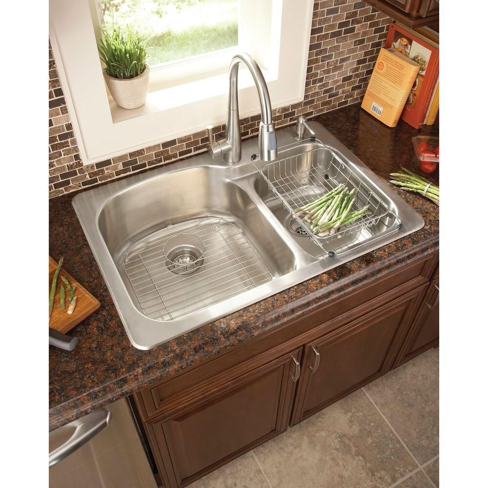 Glacier Bay All In One Dual Mount Stainless Steel 33 In 2 Hole Double Bowl Kitchen Sink Double Bowl Kitchen Sink Blanco Kitchen Sinks Kitchen Remodel